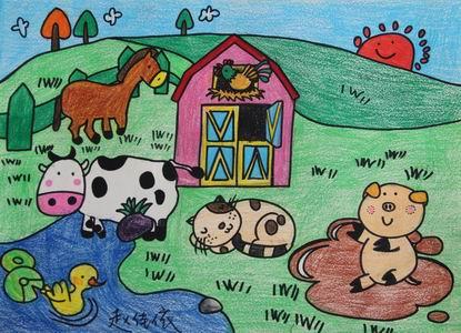 农场简笔画儿童画